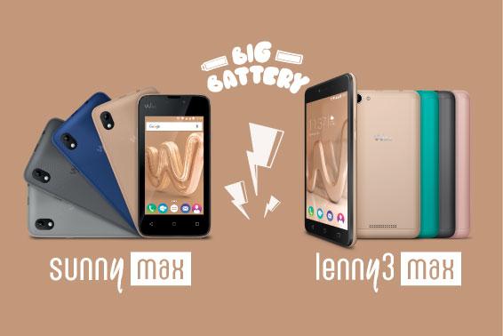 Ne manquez plus de batterie avec les smartphones Wiko Lenny3 Max et SunnyMax