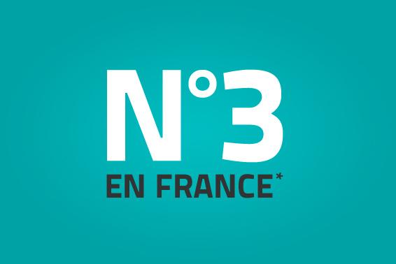 N°3 en France*