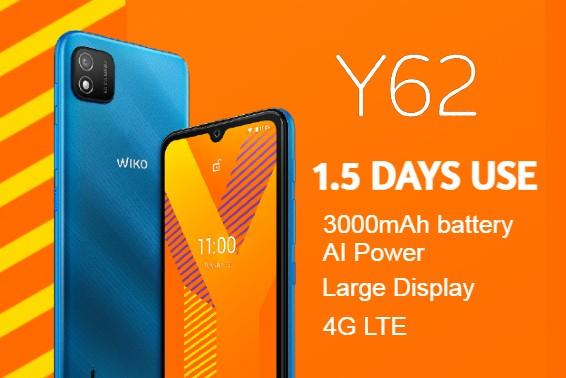 WIKO Y62- 4G SPEED. 6.1'' HD+ DISPLAY. 32+2GB MEMORY.
