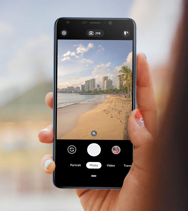 Screen with the camera app activated