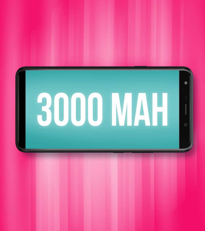 visual do telefone com 3000mAH nele e um fundo rosa