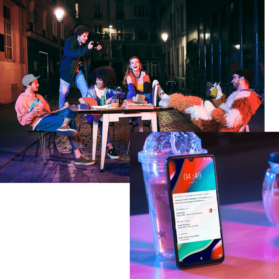 collage of pictures representing different situations with keywords: table, friends, smartphone
